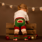 Little girl wearing Rudolph leggings by Blade & Rose, Cotswold Baby Co