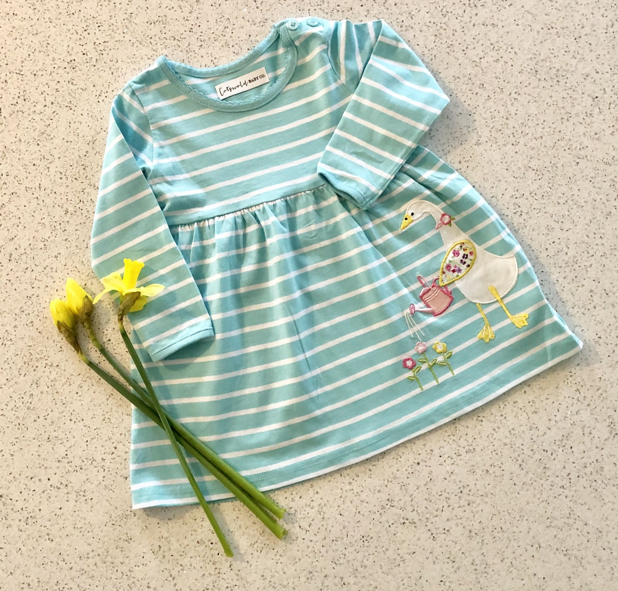 girls' duck appliqué dress by cotswold baby co