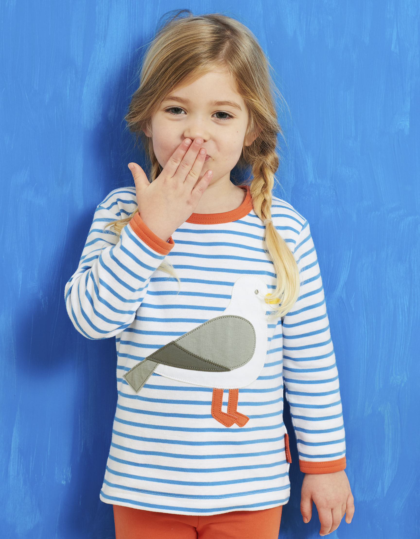 Little girl wearing Organic Cotton Seagull Applique T-Shirt from Toby Tiger