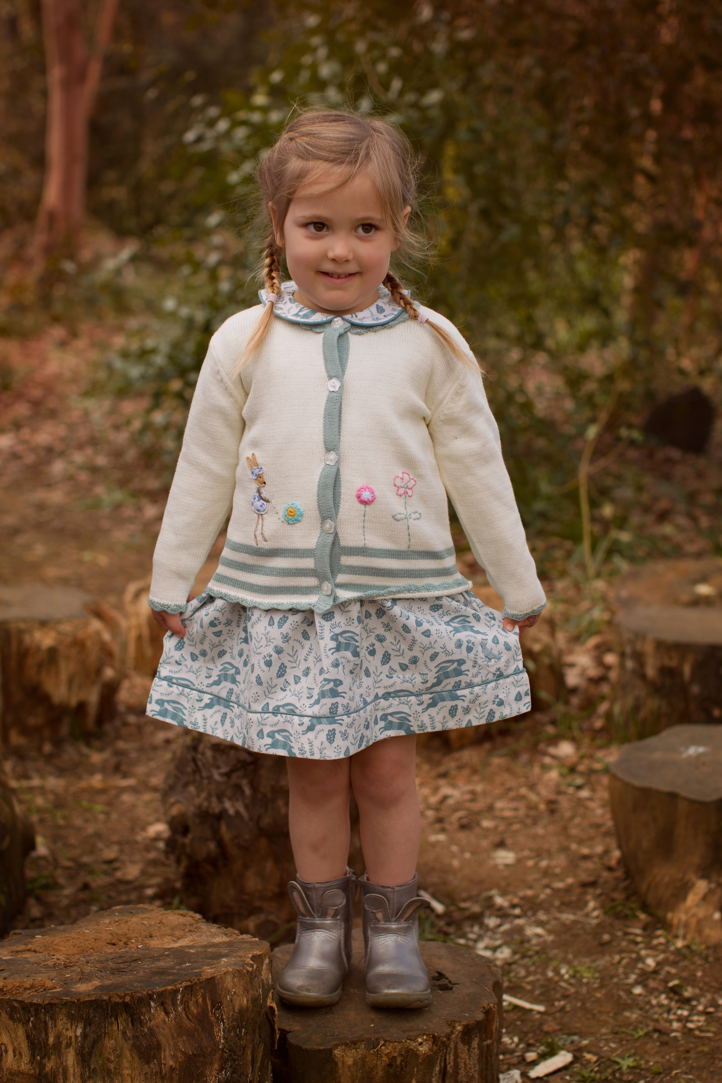 effie bunny cardi and pigeon dress