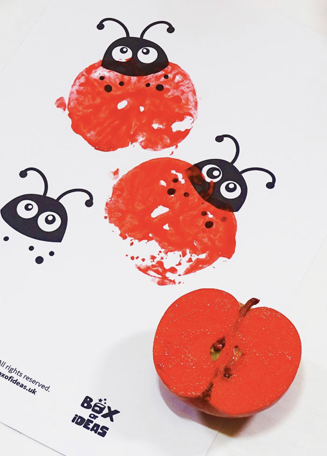 Lady Bird Apple Stamping by Box of Ideas mini-beast craft for kids