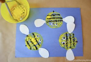Potato Masher bee Craft for Toddlers by Happy Toddler Playtime, Cotswold Baby Co